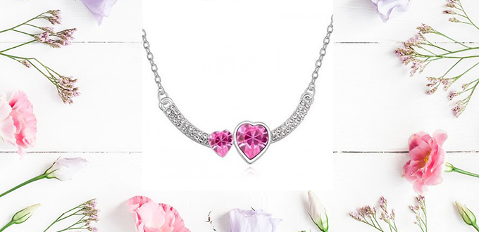 Κρεμαστό κόσμημα Dual Hearts από Swarovski Elements. --Time4Style.